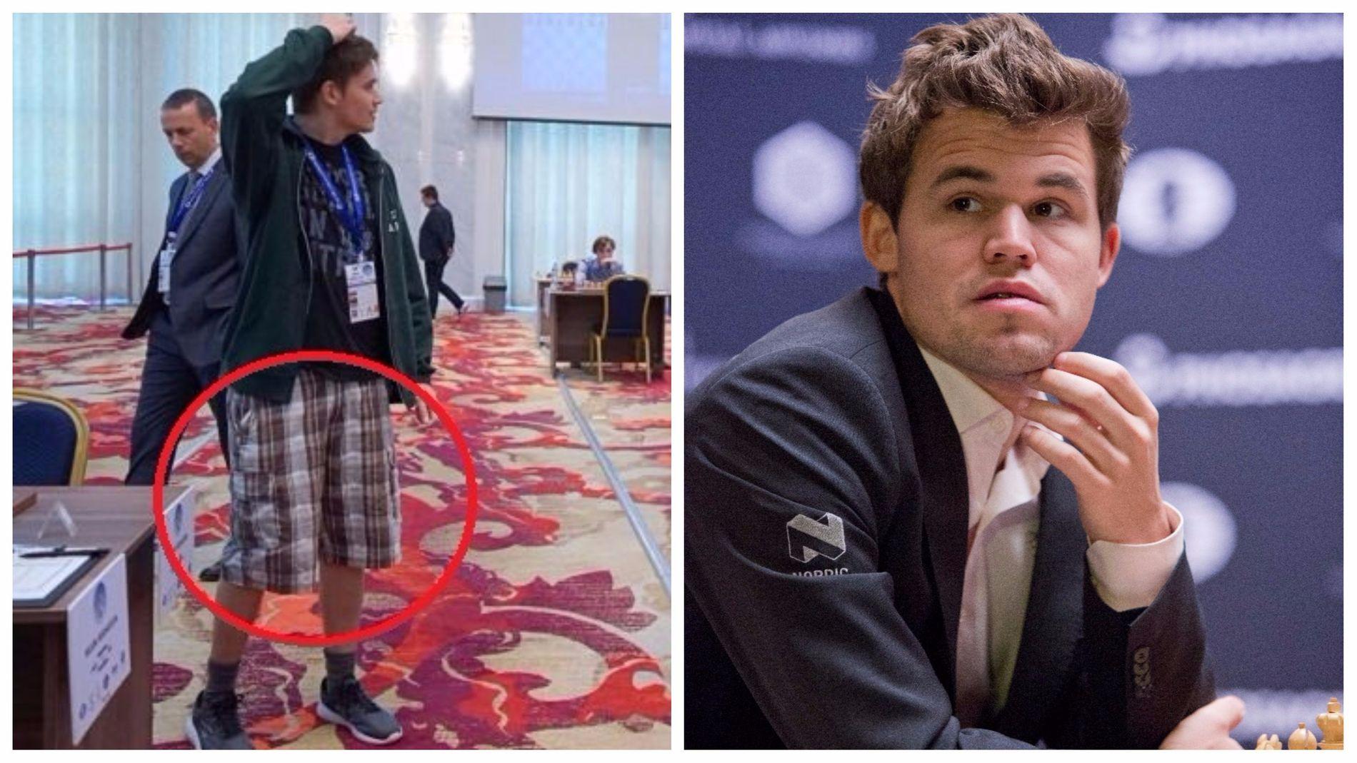 Denne shortsen til Anton Kovaljov kunne ikke arrangøren leve med. Magnus Carlsen er som regel ulastelig antrukket når han spiller sjakk, som her under VM-kampen mot Sergej Karjakin i fjor.
