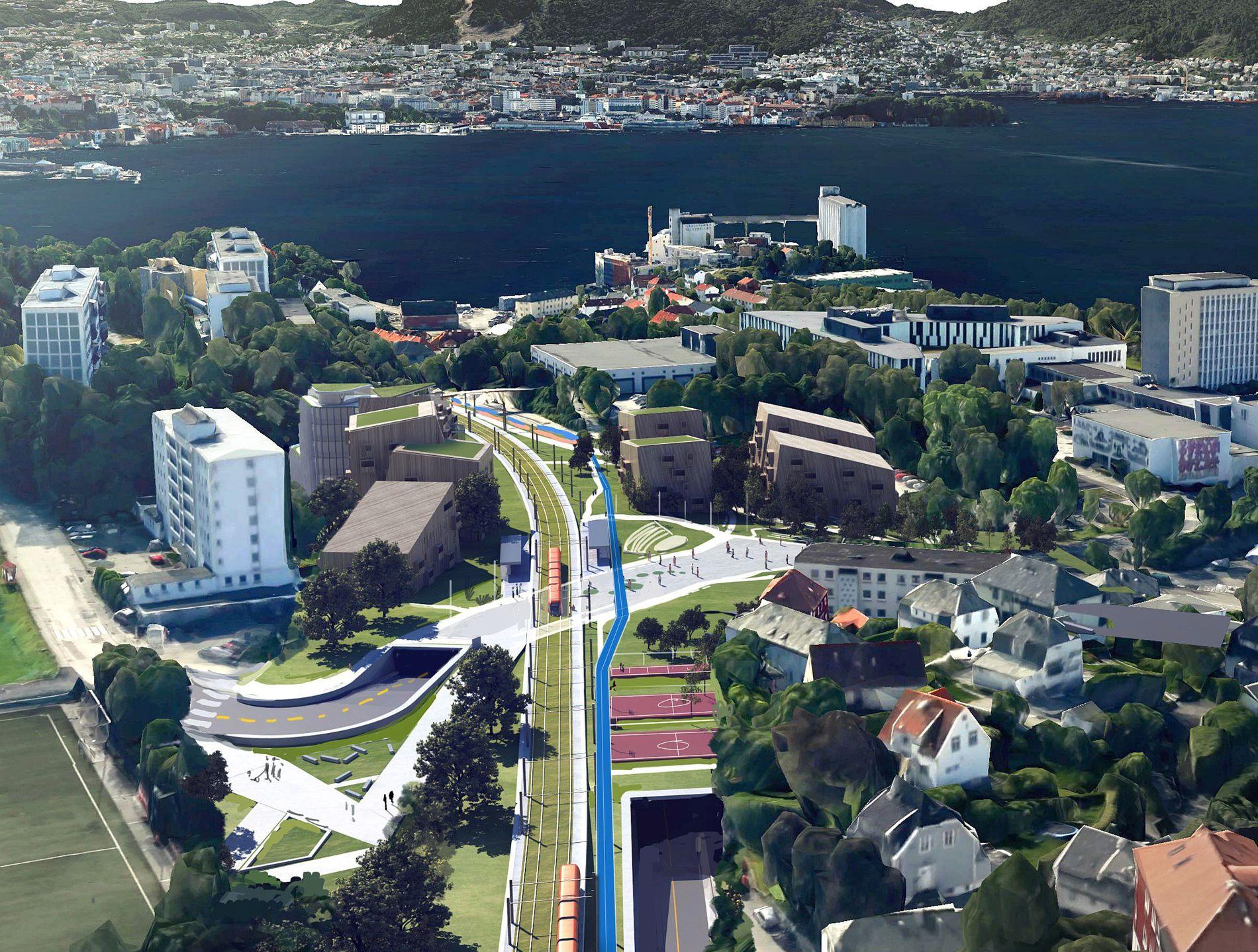 BYBANEN: I Bergen er det store flertallet enige om at vi kan få det bedre i byen vår om alle bare kjører litt mindre bil. Likevel er det protester mot bompenger, mot fortetting og mot Bybanen, skriver Per-Arne Larsen (V). Bildet er en illustrasjon av hvordan Bybanen gjennom Sandviken kan se ut.
