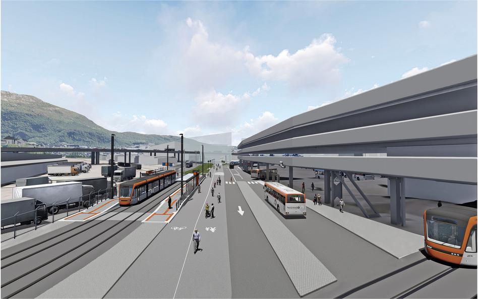TRANGT: Området mellom Bystasjonen og godsterminalen vil bli forandra om få år. ILLUSTRASJON: SWECO.