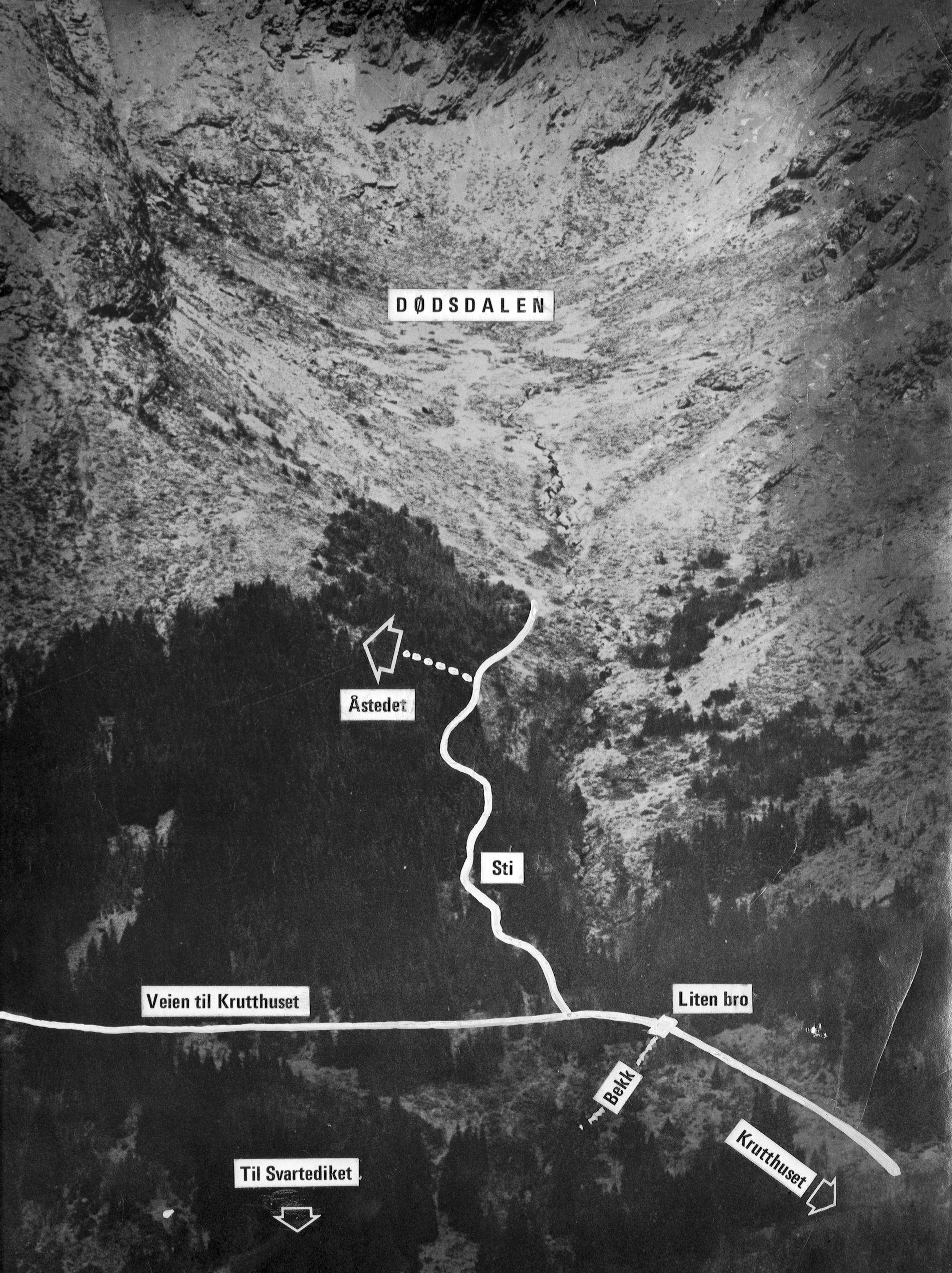 ÅSTEDET: Isdalskvinnen ble funnet død 29. november 1970 av turgåere. ILLUSTRASJON: BTs ARKIV