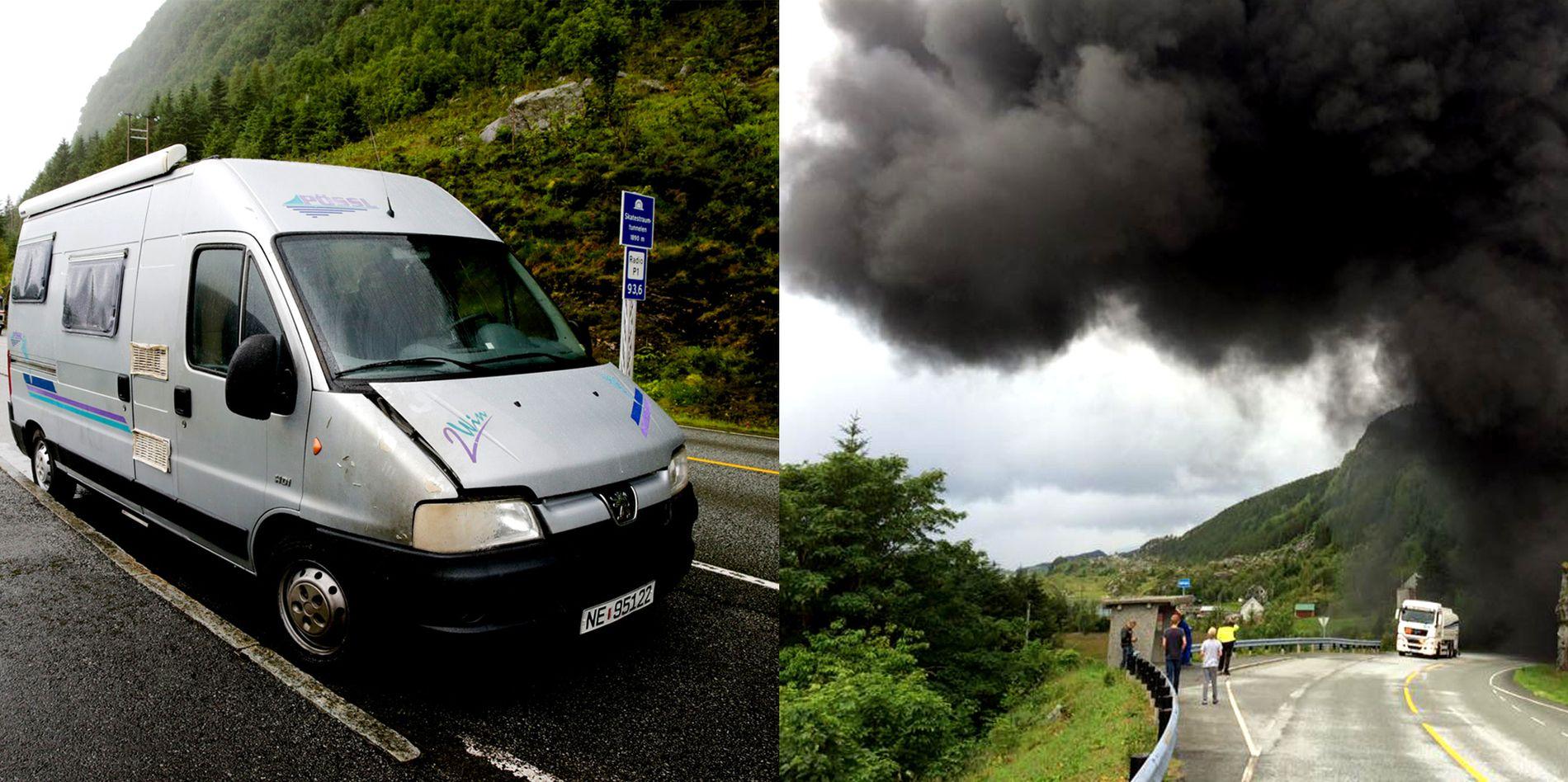 Kjell Ragnar Hauge (71) og konen måtte rygge over en kilometer da det begynte å brenne i Skatestraumtunnelen. På vei ut plukket de opp to kvinner som løp fra flammene.