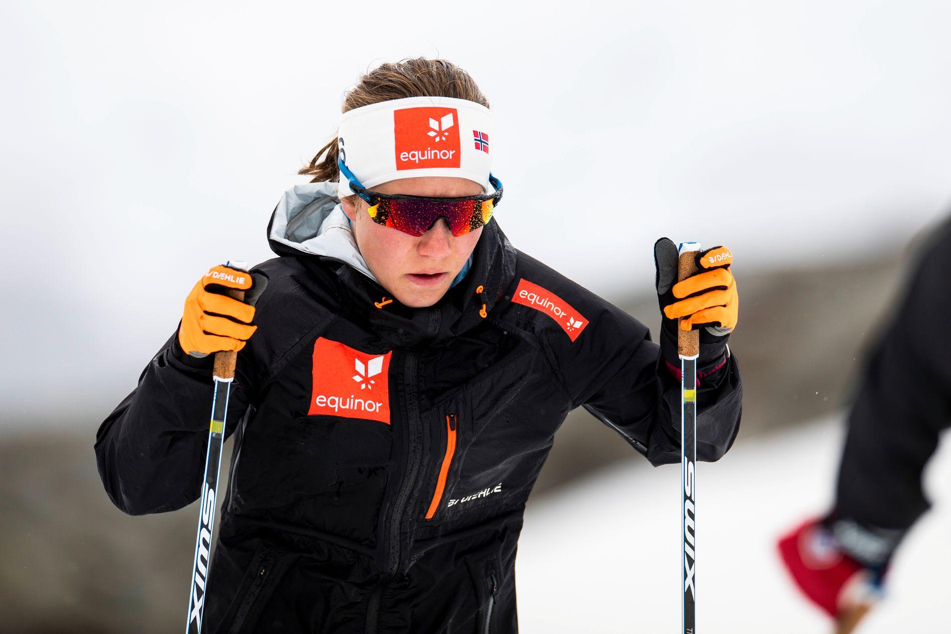 Helene Marie Fossesholm under treningssamlingen på Sognefjellet med skilandslaget i juni.