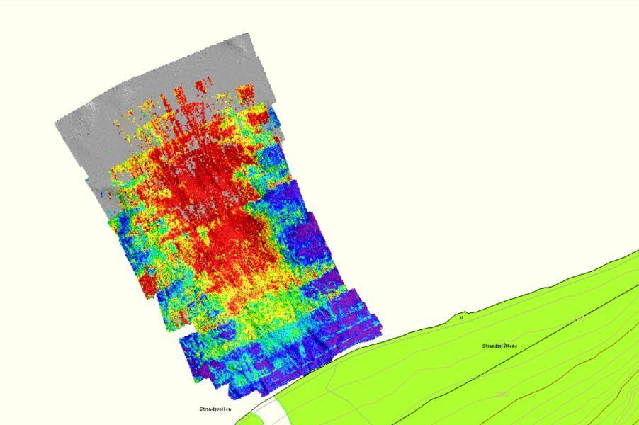 SONARBILDE: Det store, grønne feltet nede til høyre er land. Det mangefargede feltet viser skredmasser med ulik hardhetsgrad i vannet utenfor. Rødt angir det tetteste materialet, mens lilla og mørkeblått er vann eller materiale med lav tetthet. Lengst mot nord er bredden på rastungen cirka 200 meter.