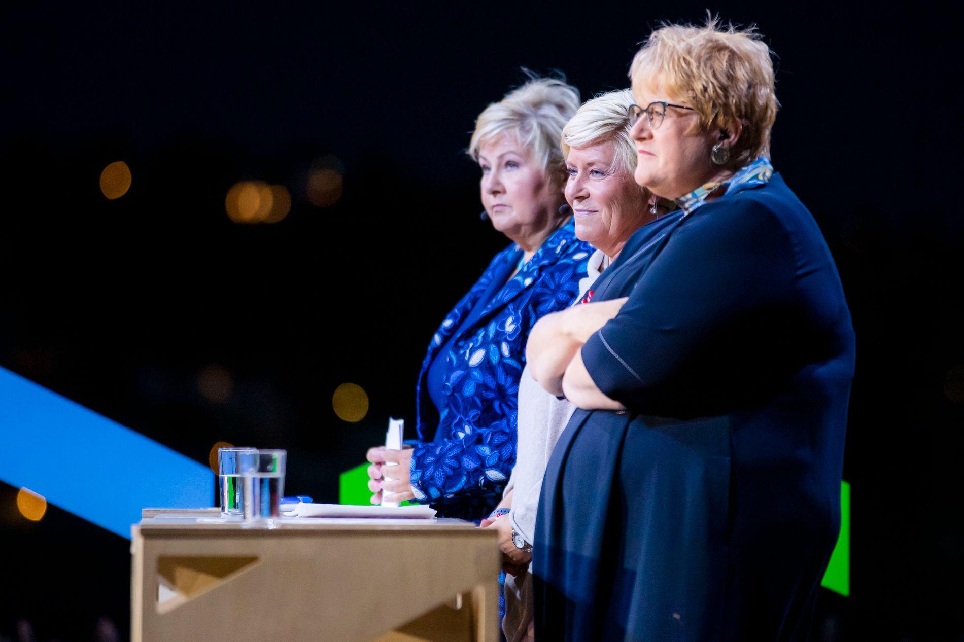 DEBATT: Trine Skei Grande (V) under debatten i Arendal mandag.