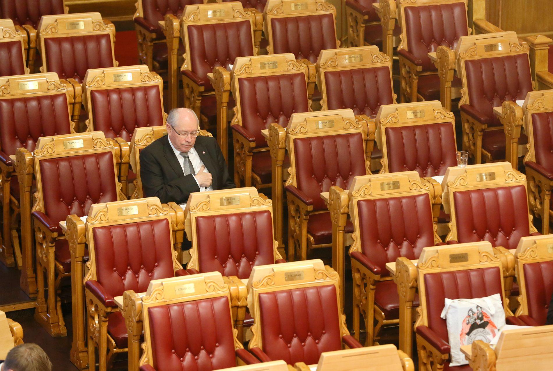 EINSAM SVALE: Politikken er iblant litt keisam, skriv Solhjell. Her koser Martin Kolberg (Ap) seg i salen.