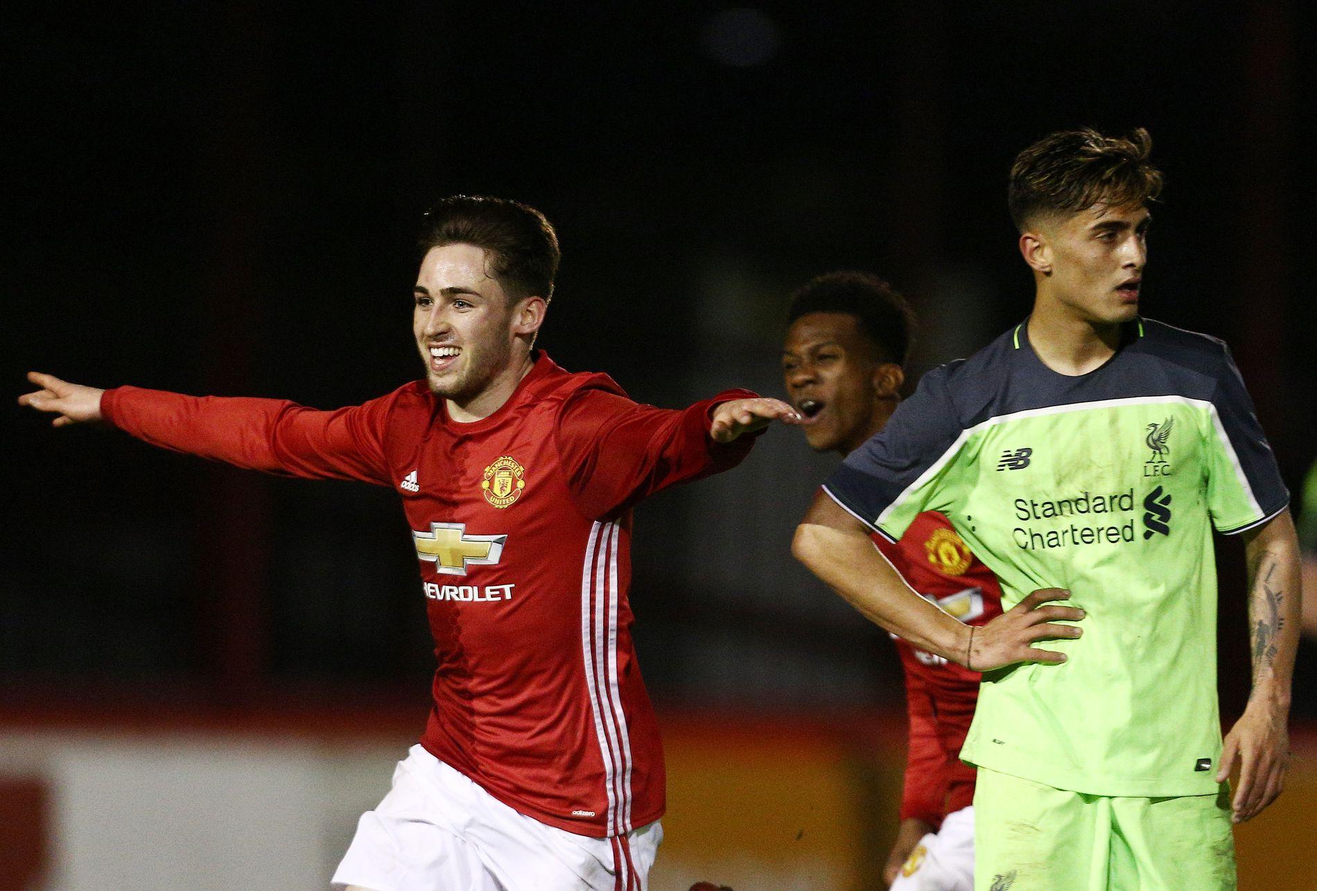 Aidan Barlow i aksjon for Uniteds U18-lag.