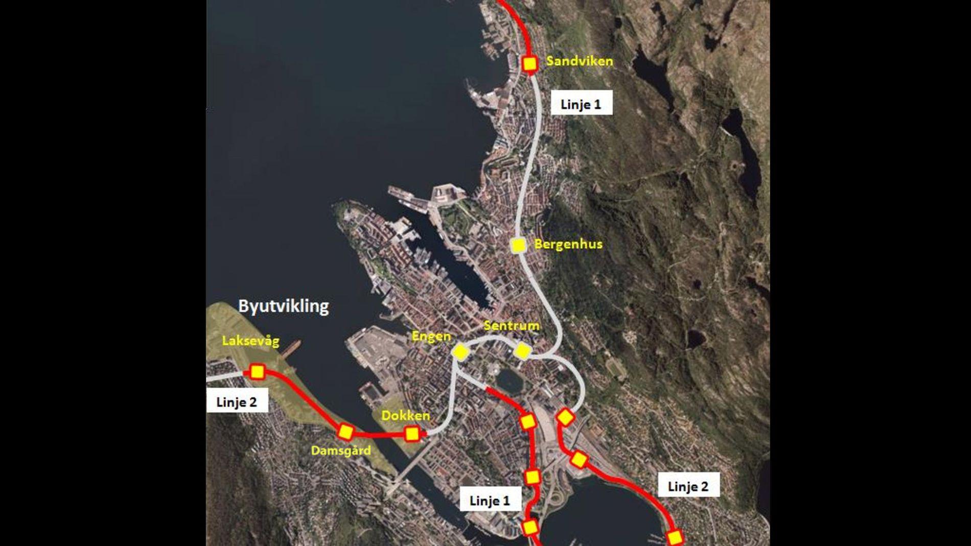 TUNNELPLAN: Innsenderen, som har lang erfaring som ruteplanlegger, ønsker seg et nettverk av bybanetunneler under Bergen sentrum. Her er skissen hans.