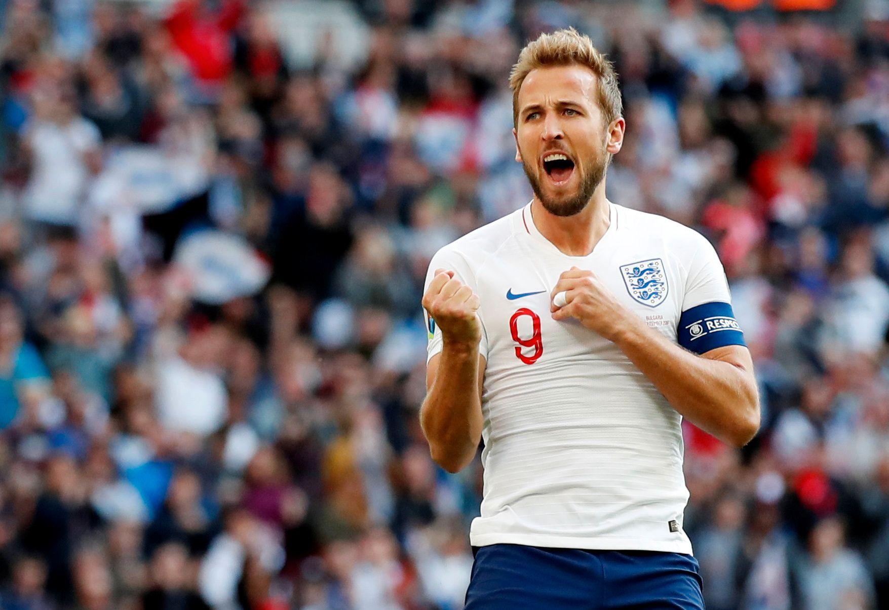 Harry Kane scoret tre mål for England i seieren over Bulgaria lørdag.