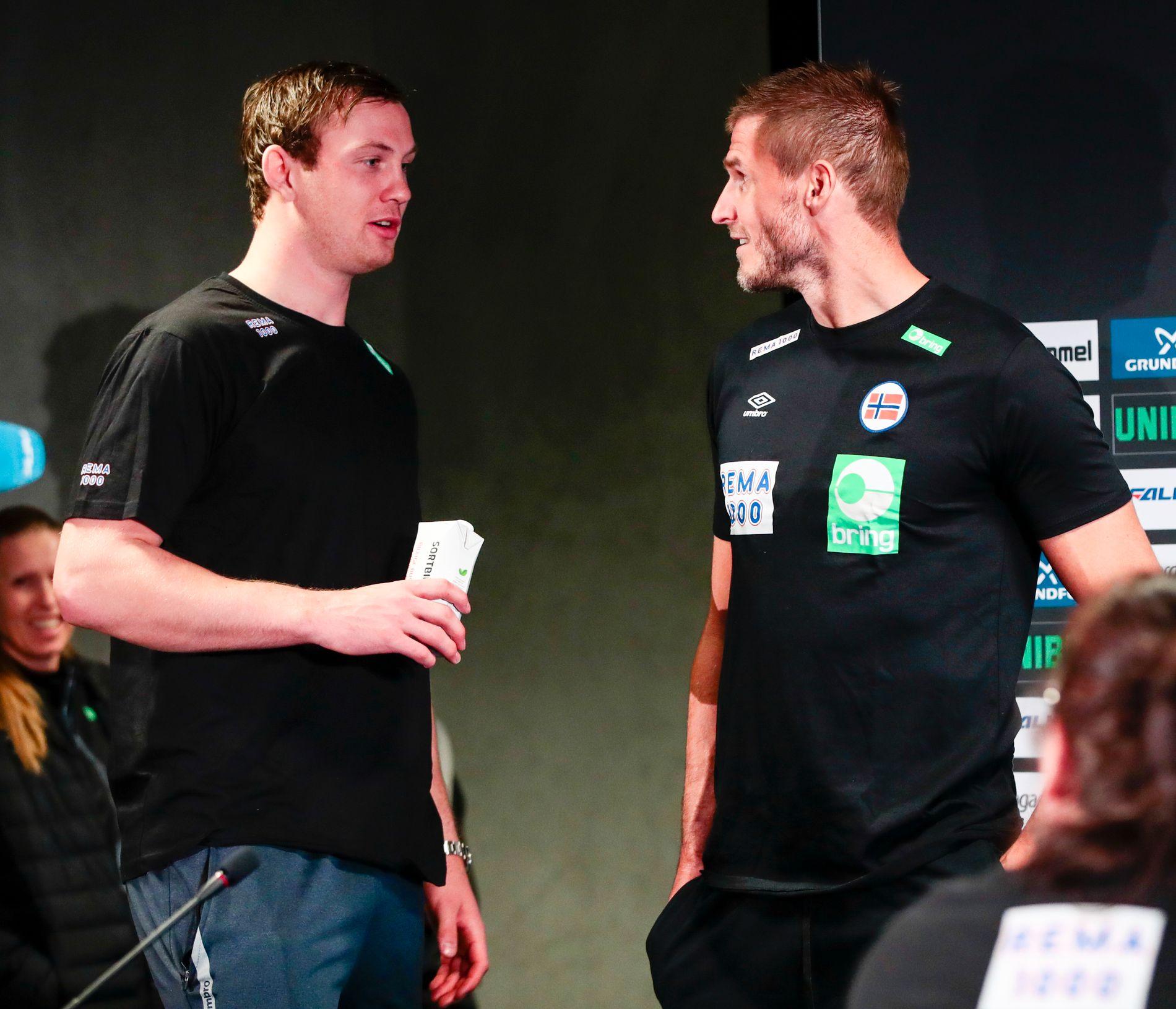 TO STORE: Sander Sagosen (t.v.) har Bjarte Myrhol som sitt forbilde.