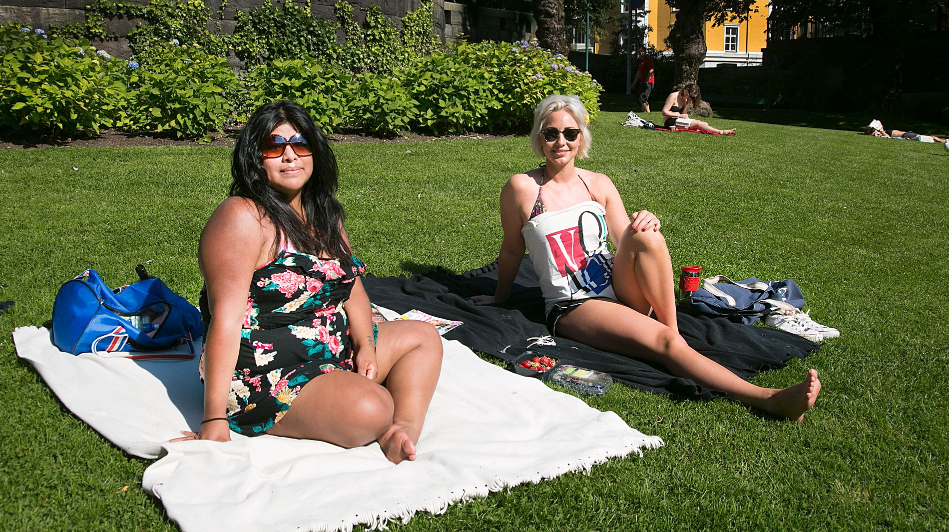 NYTER: Rut Lillestøl og Henriette Hauge tar seg gjerne et glass vin i parken selv om det ikke er lovlig. - Så lenge man ikke bråker sier ikke politiet noe, sier Hauge.