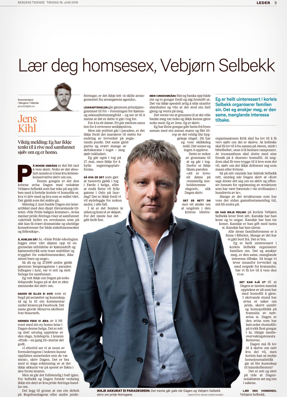 BAKGRUNNEN: Vebjørn Selbekk får et forslag fra BT-kommentator Jens Kihl tirsdag. Faksimile: BT 18. juni