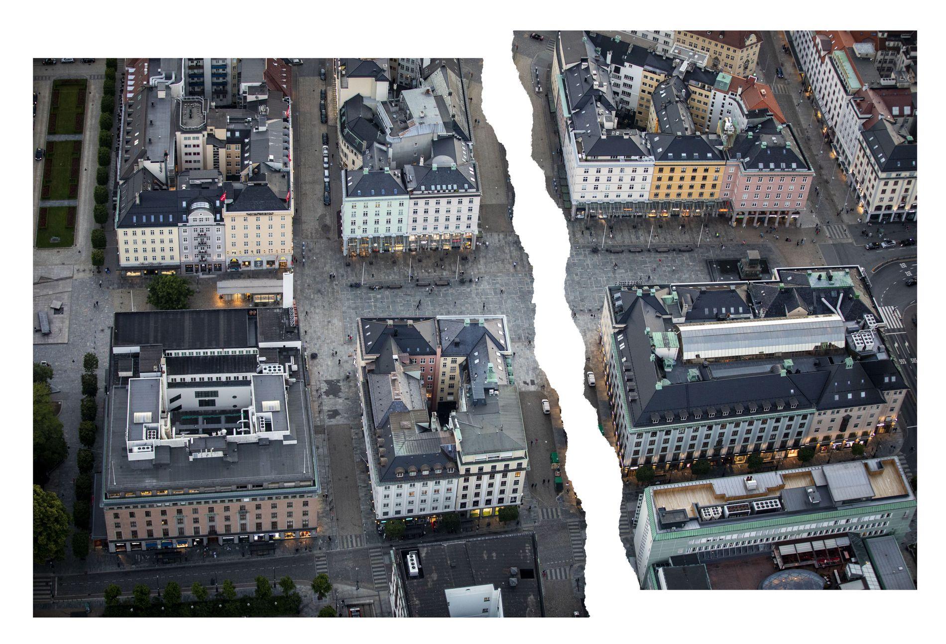 DELT BY: Midt på Torgallmenningen går skillet mellom turistenes Bergen (til høyre) og resten av byen, skriver innsenderen. I områdene til venstre for skillet er sommeren lavsesong.
