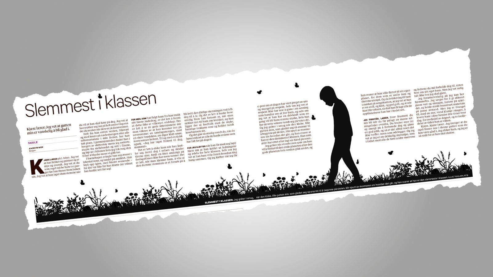 ENGASJERER: Over 140.000 har lest innlegget fra en anonym mor, og teksten var den mest delte i Norge lørdag. FAKSIMILE: BT 2. FEBRUAR
