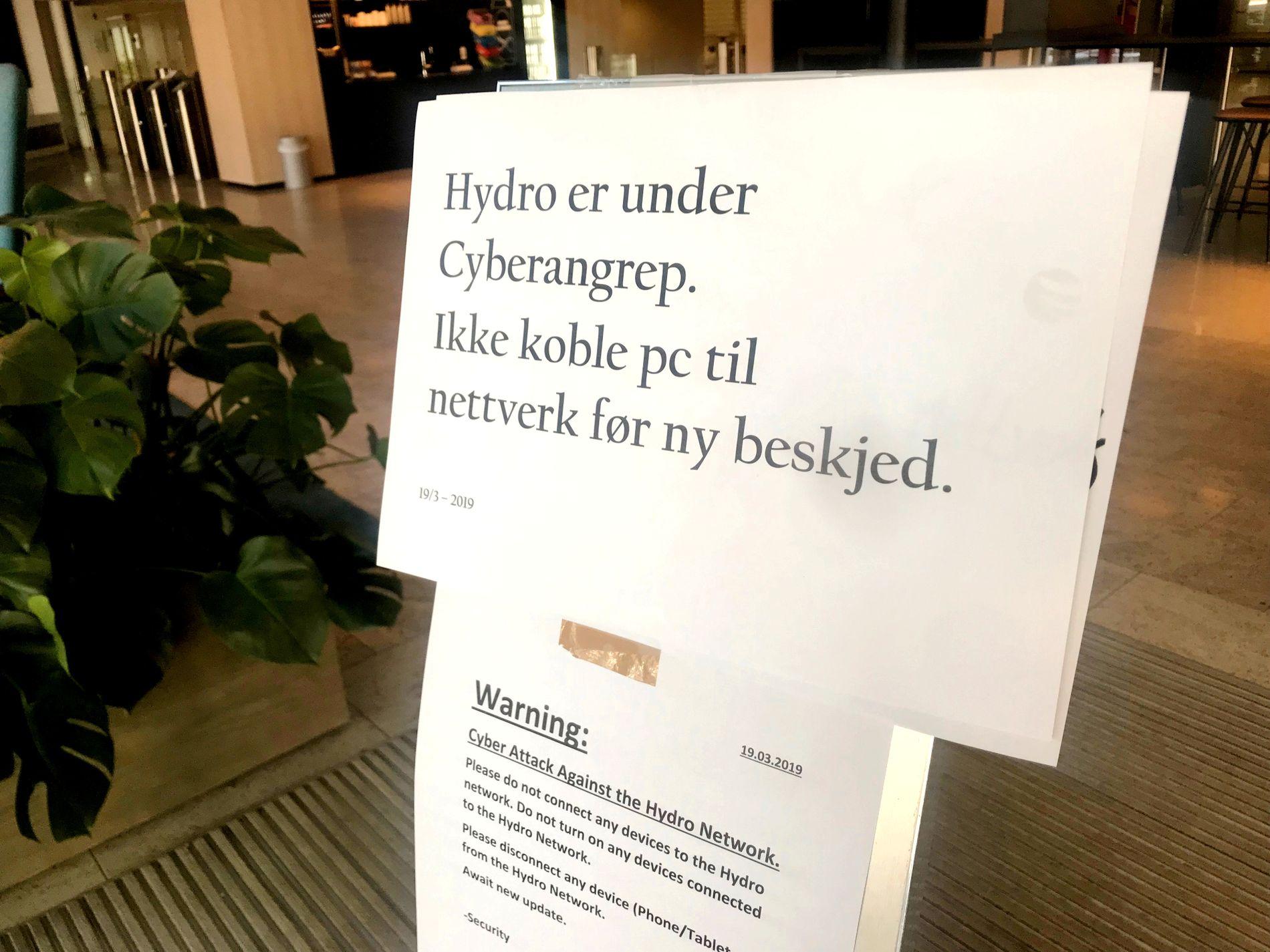 HYDRO: I mars vart Hydro råka av eit massivt dataangrep, som gjorde at alle selskapets 35.000 tilsette måtte levere inn datamaskinene sine. Om slike angrep råkar fleire viktige stats- og samfunnsaktørar på kort tid, vert dei mykje vanskelegare å handtere, skriv Morten Myksvoll.