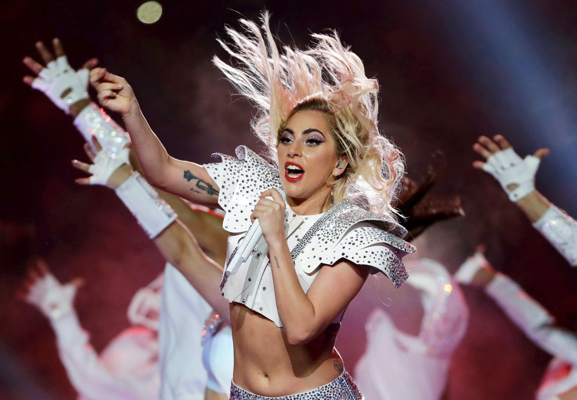 KOMPLET: Robert Wilsion mener at Lady Gaga er en komplet artist. Her synger hun på Superbowl-finalen i februar.