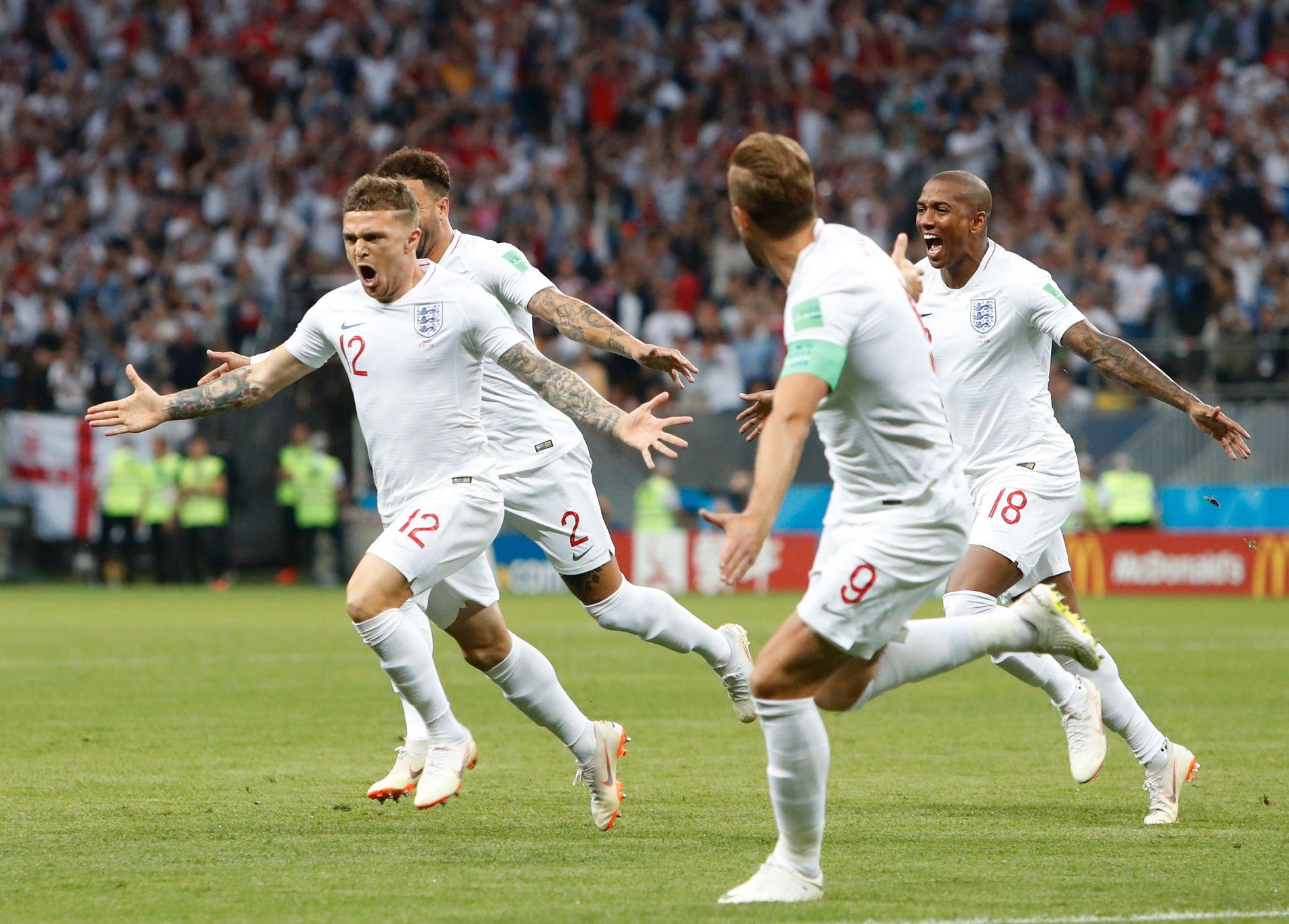 Kieran Trippier har signert en treårsavtale med Atlético Madrid. Her er han i aksjon for England under VM i 2018.