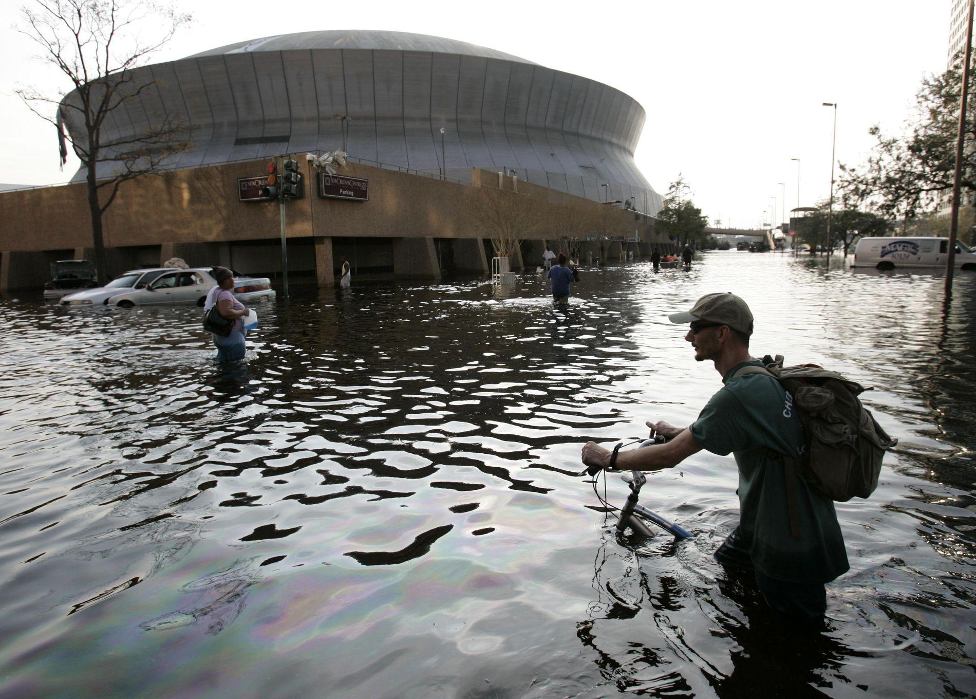 KATRINA-OFFER: New Orleans var ett av områdene som ble hardt rammet av Katrina i 2005. Brudd i dikene gjorde at byen ble oversvømt. Området var lenge et katastrofeområde.