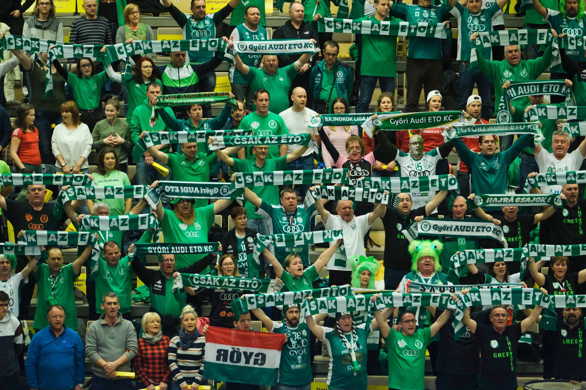 Györ fans under mesterligaen mellom Vipers Kristiansand og Györi ETO i Aquarama i Kristiansand 9. mars 2019.