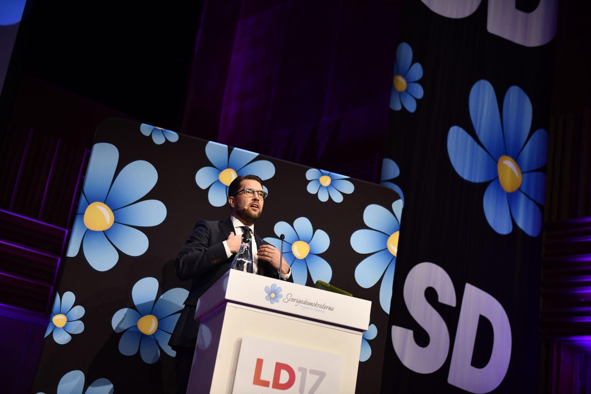 PÅ VEI OPP: Mens hans politiske motstander ser med gru med muligheten for at han blir statsminister, har en stadig større andel av velgerne tillit til Sverigedemokraternas leder Jimmie Åkesson.