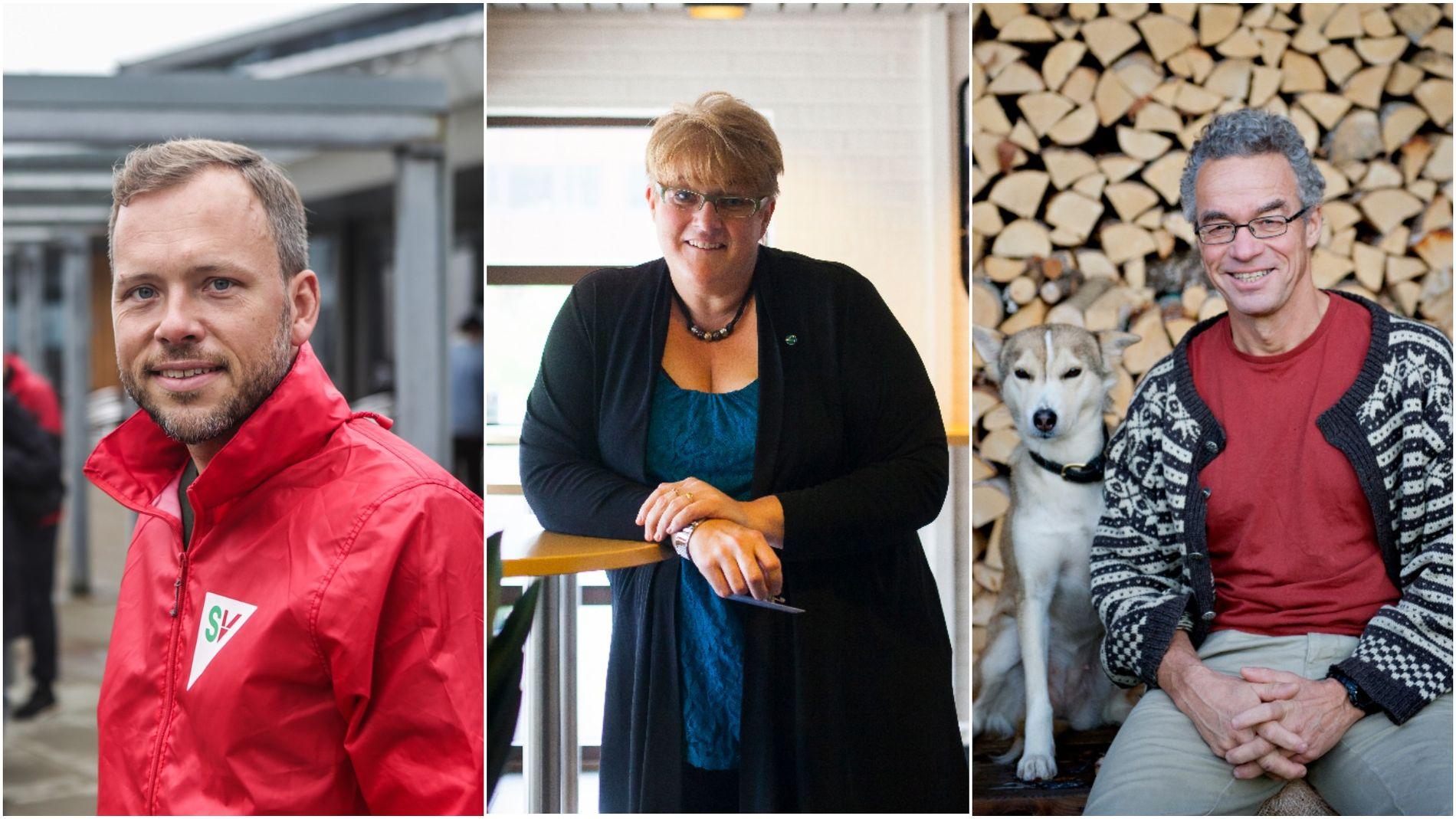KLIMAPARTIENE: Audun Lysbakken (SV), Trine Skei Grande (V) og Rasmus Hansson (MDG) leder de tre eneste partiene som i realiteten setter klima høyt nok på prioriteringslisten. Heldigvis vil de forhåpentlig få makt, uavhengig av om det er Støre eller Solberg som blir statsminister.