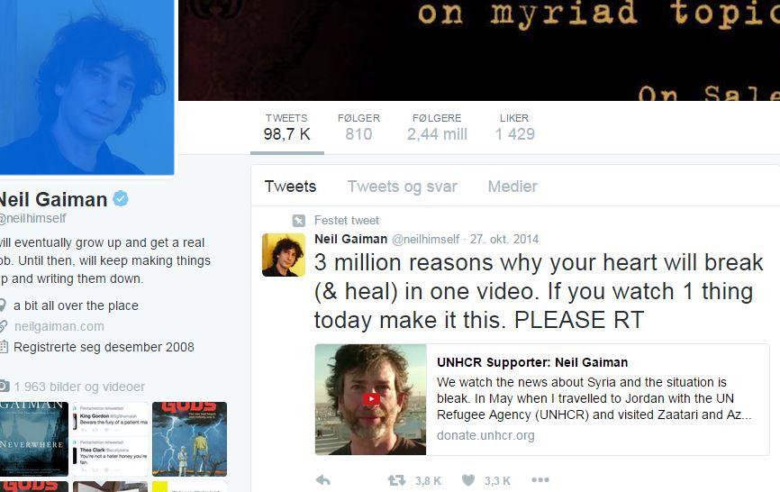 BRUKER TWITTER: Forfatter Neil Gaiman kommuniserer med leserne sine på sosiale medier. FOTO: SKJERMDUMP, TWITTER