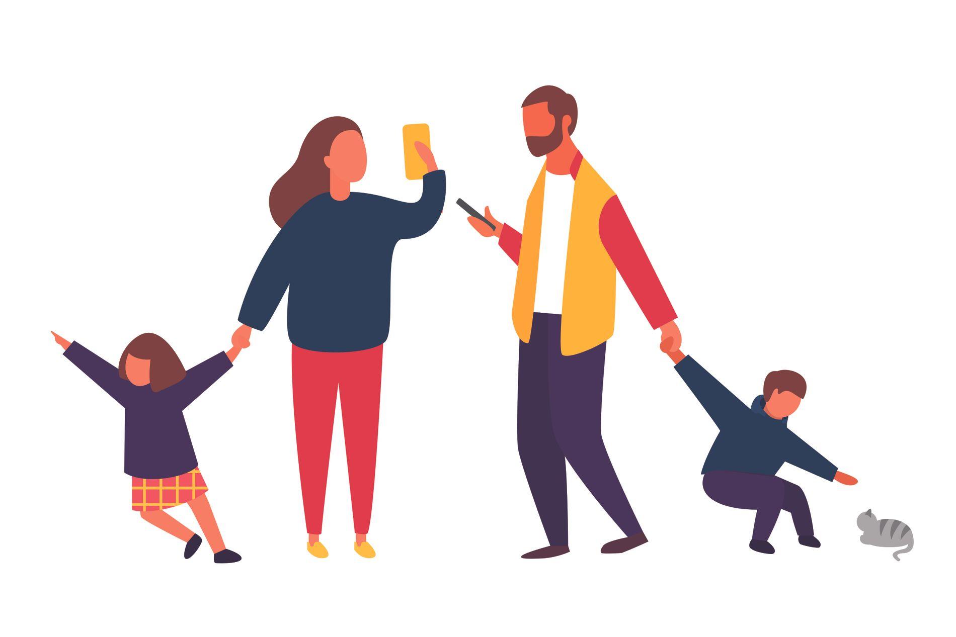 MOBILEN TAR OVER: Det er utrolig trist når verdifull tid med barna våre, foreldrene våre og dem vi er glad i går tapt til fordel for en skjem, skriver Marte Haugen. ILLUSTRASJON: NTB scanpix