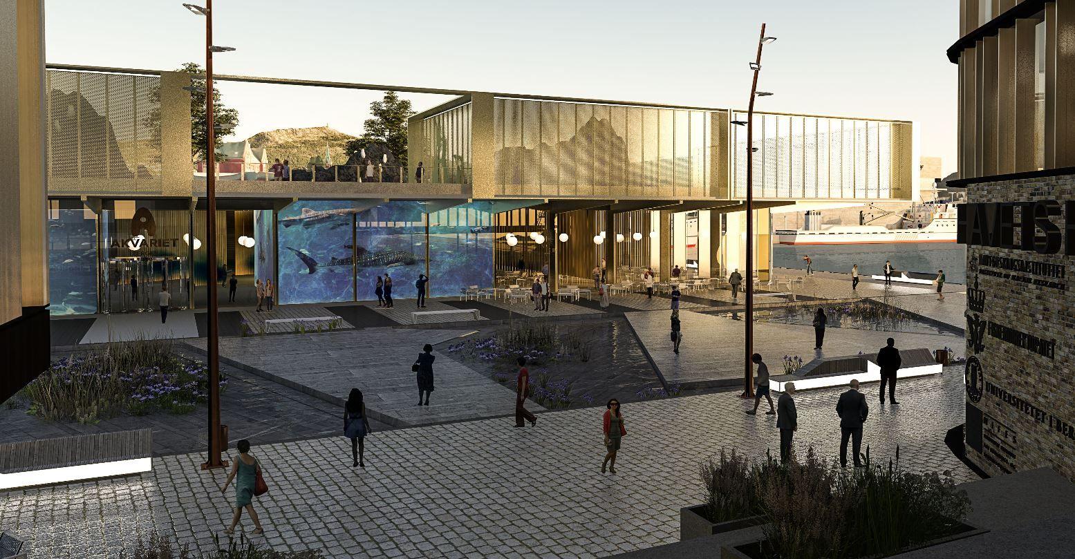 IKKE SIGNALBYGG: Arkitekt Fredrik Barth mener det nye akvariet ikke trenger å være et signalbygg, men at det skal skape et «signalbyrom» på Dokken.  Her er det lagt opp til vannlek og rompetrolljakt for barn.