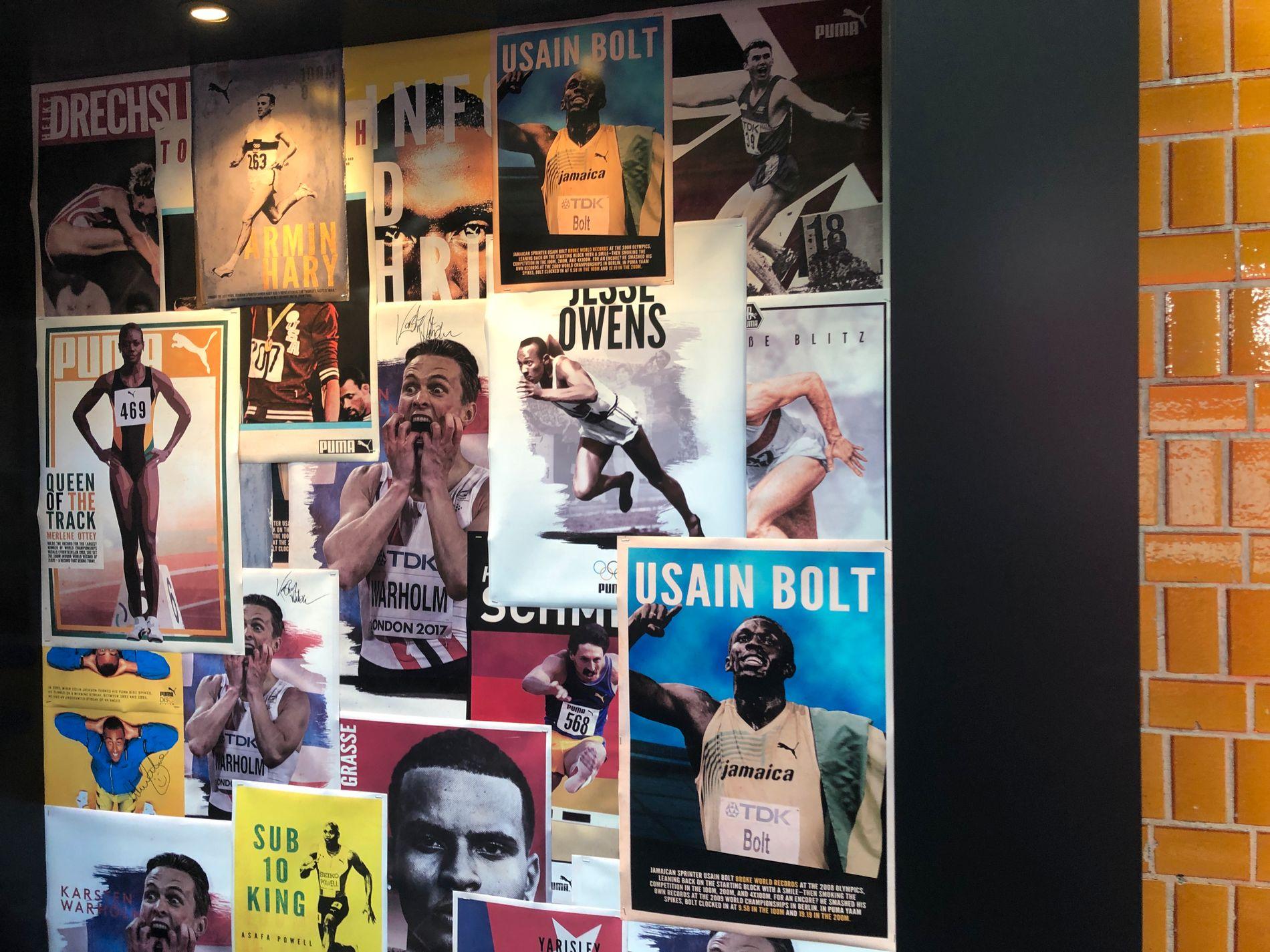 Nå deler Karsten Warholm samme sponsorplakat som verdensstjernen Usain Bolt.