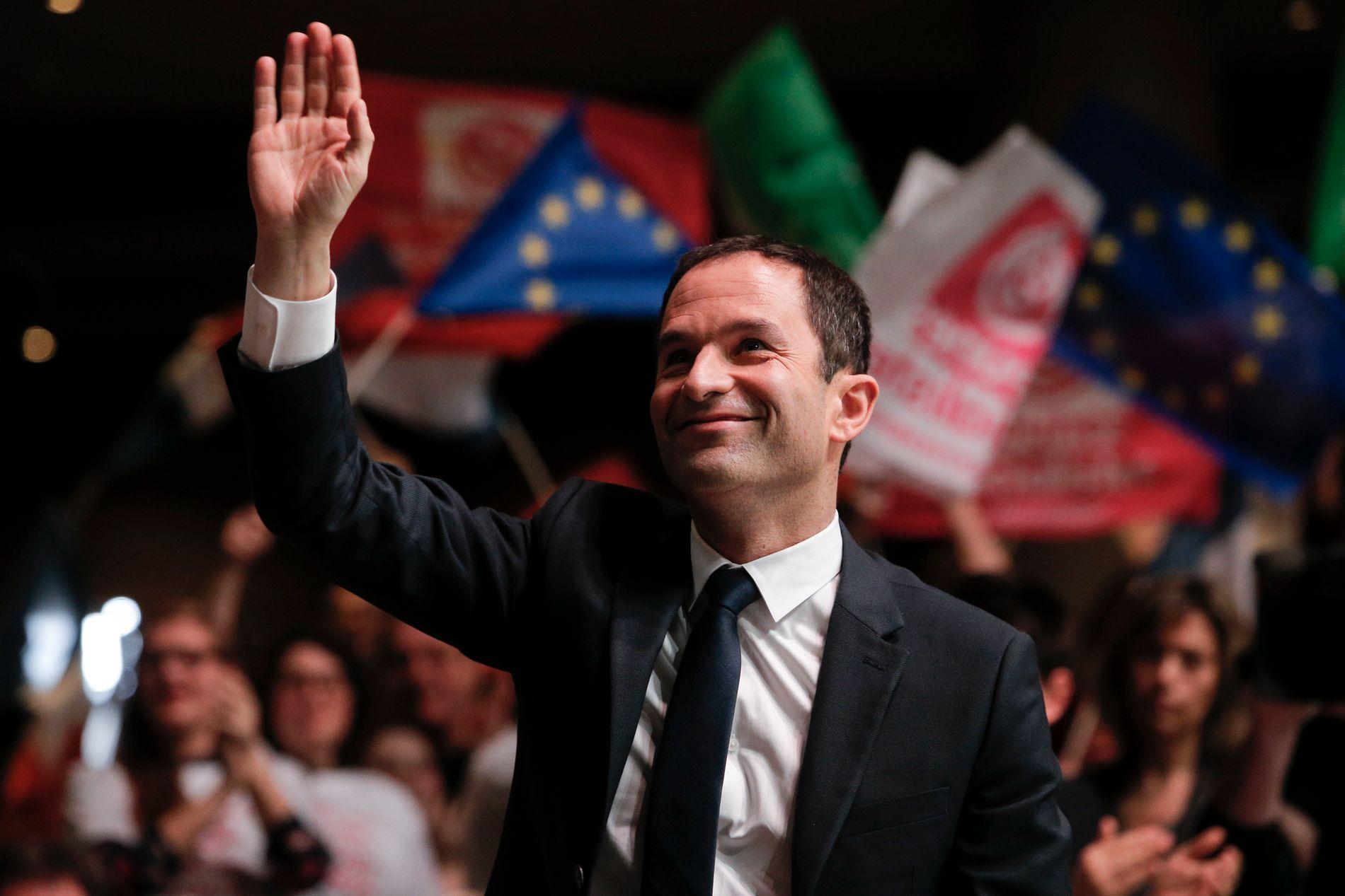 PRESIDENTHÅP: Benoît Hamon er utnevnt som sosialistenes presidentkandidat. Han ønsker å bygge regjeringsflertall med De Grønne og SVs søsterparti Parti de Gauche.