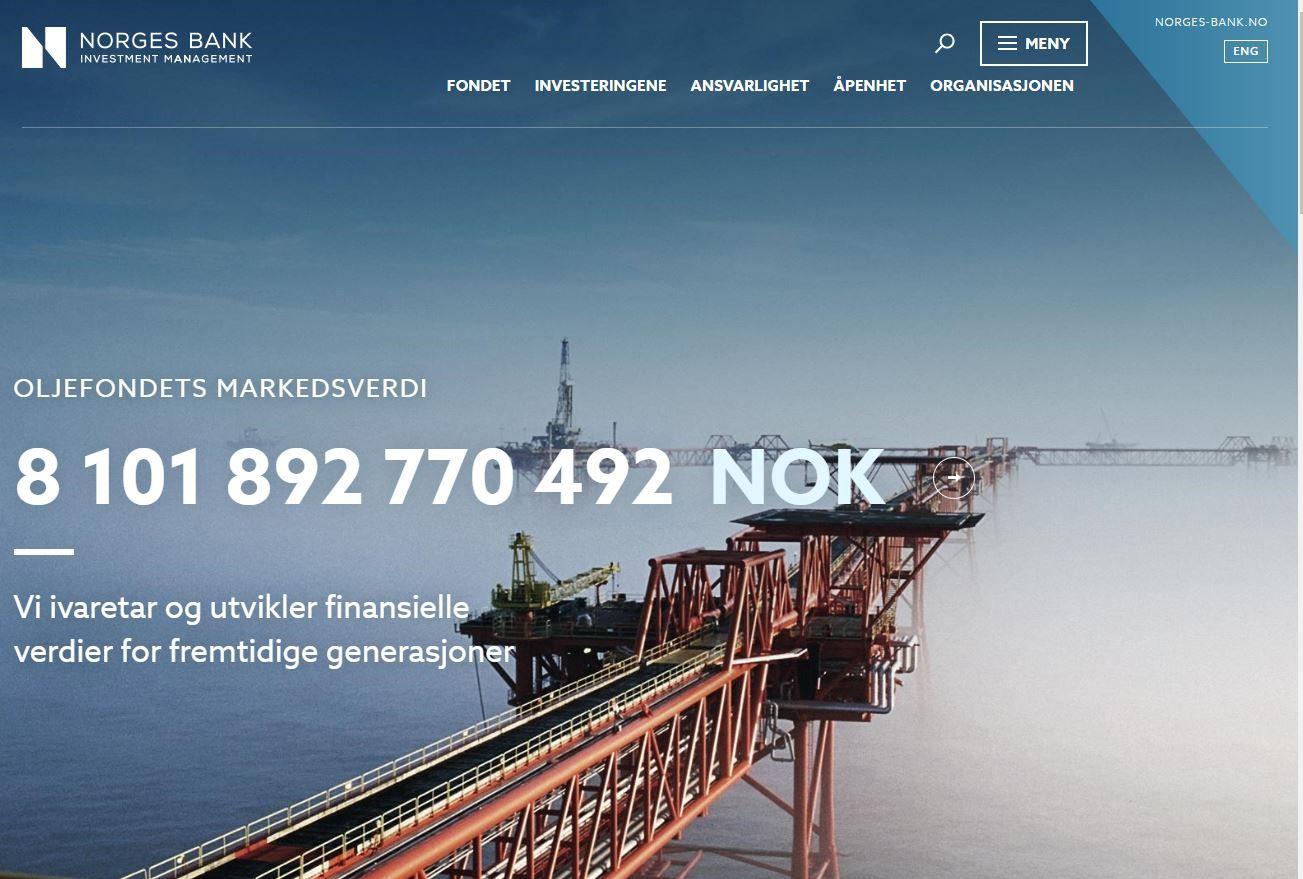 Skjermdump frå oljefondets nettside 30. oktober 2018