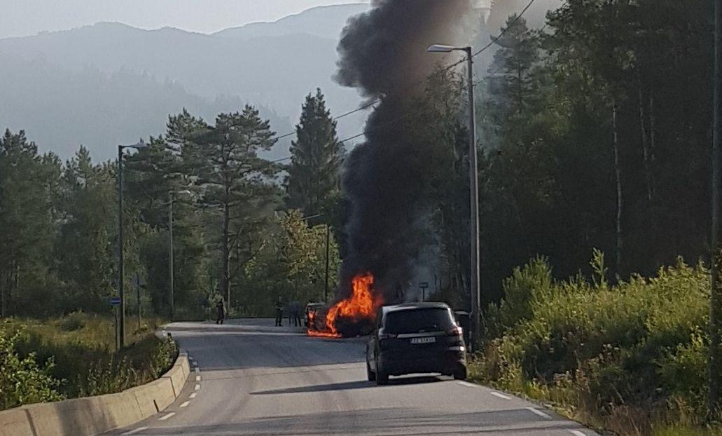 BRANNEN SPREIA SEG: Diesel frå bilen rann brennande nedover i terrenget.