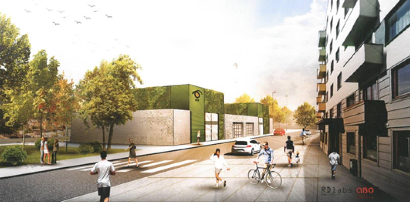 Den nye bossnett-terminalen, sett fra Torborg Nedreaas' gate.