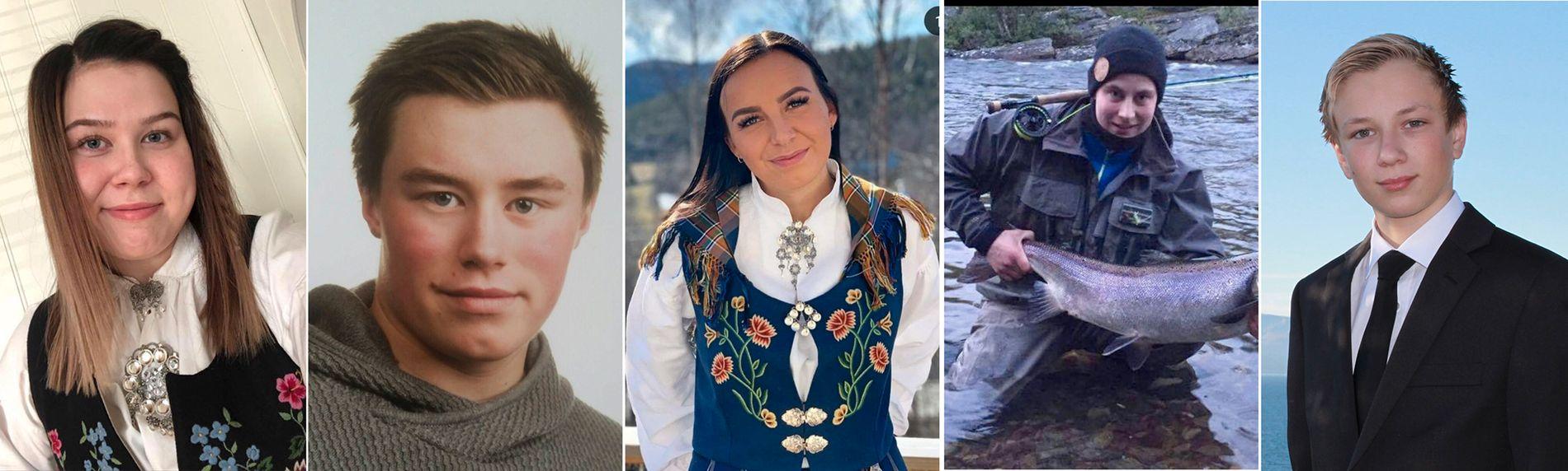 OMKOM: De fem passasjerene som omkom i helikopterulykken i Alta lørdag, var (fra v.): Kine Johnsen (20), Robin Karlsen (20), Benedikte Hyld Mella (22), Kevin Berg (20) og Markus Vonheim (19).