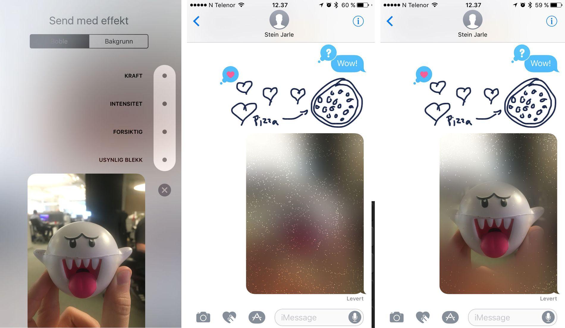 MELDINGER: Meldinger-appen har kanskje fått den største overhalingen, med en haug av nye funksjoner og effekter. Foto: Skjermdump