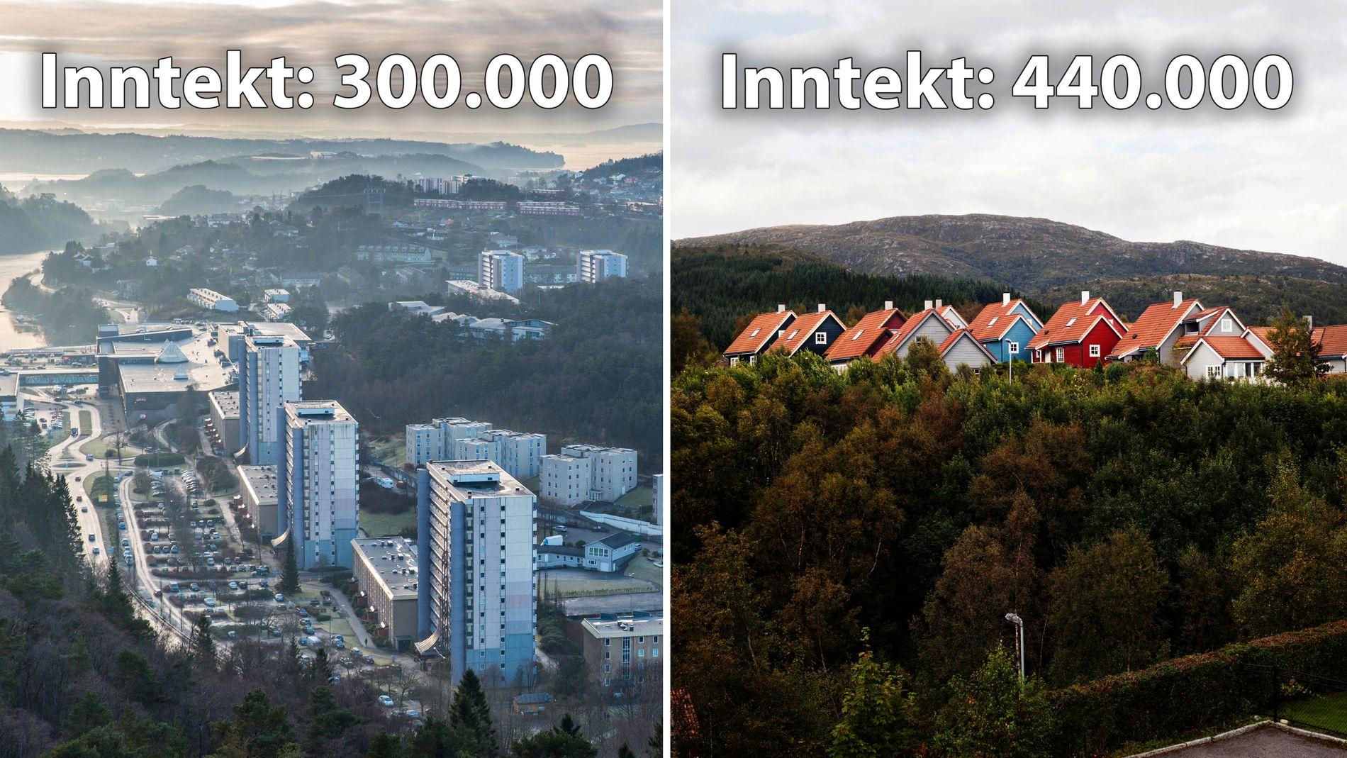 ULIKHET: Levekårene er svært ulike i for eksempel Loddefjord (til venstre) og Nattlandsfjellet (til høyre), ifølge innsenderen.