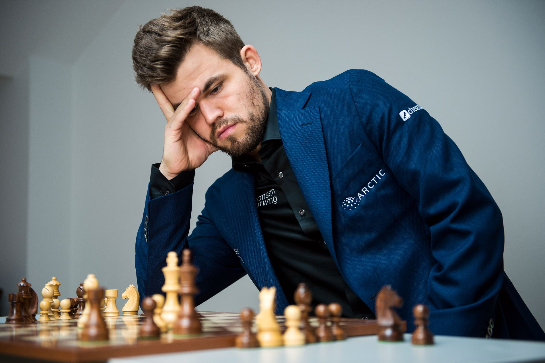 Magnus Carlsen tapte mot Sergej Karjakin i hurtigsjakk i St. Louis mandag. Her fra Norway Chess i juni.