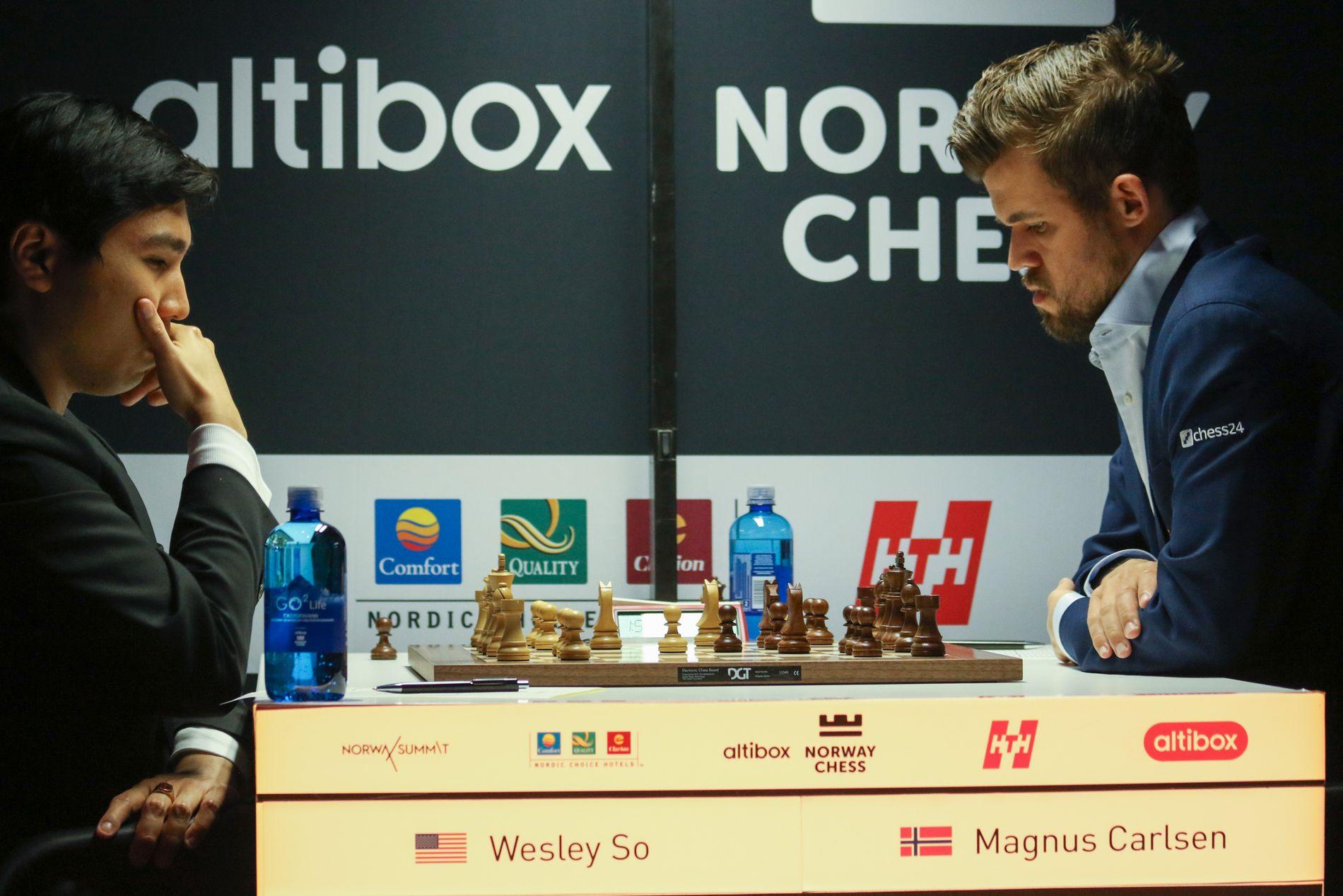 Magnus Carlsen i onsdagens parti mot Wesley So.