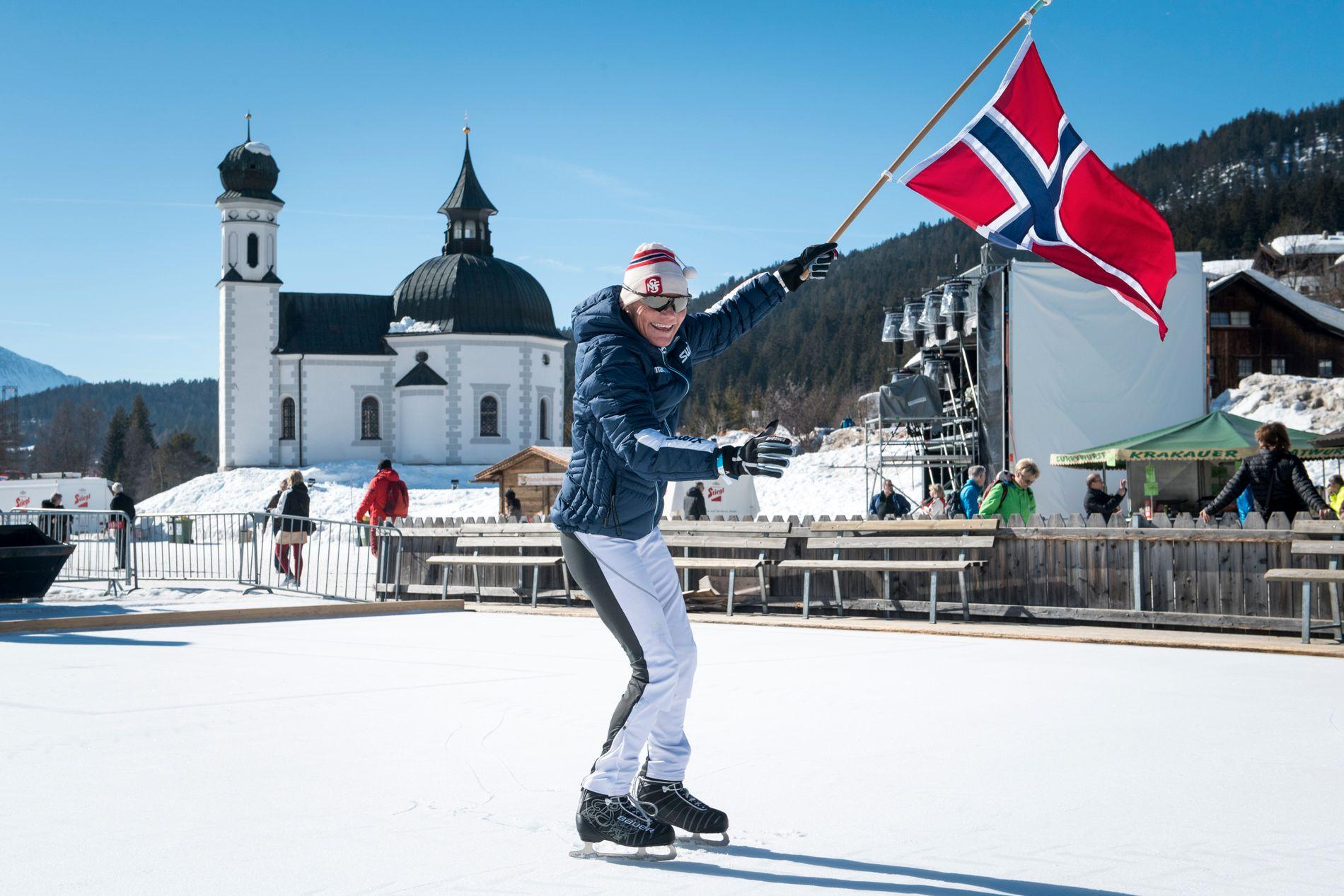 Anette Bøe på skøytebanen noen hundre meter fra langrennsstadion der hun vant to gull i 1985.