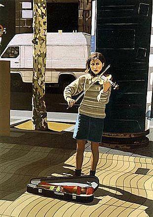 I BYBILDET: Roar Lende har laget flere bilder hvor han ser på kunstnere i bymiljøet, dette bildet heter Performance stil 7.