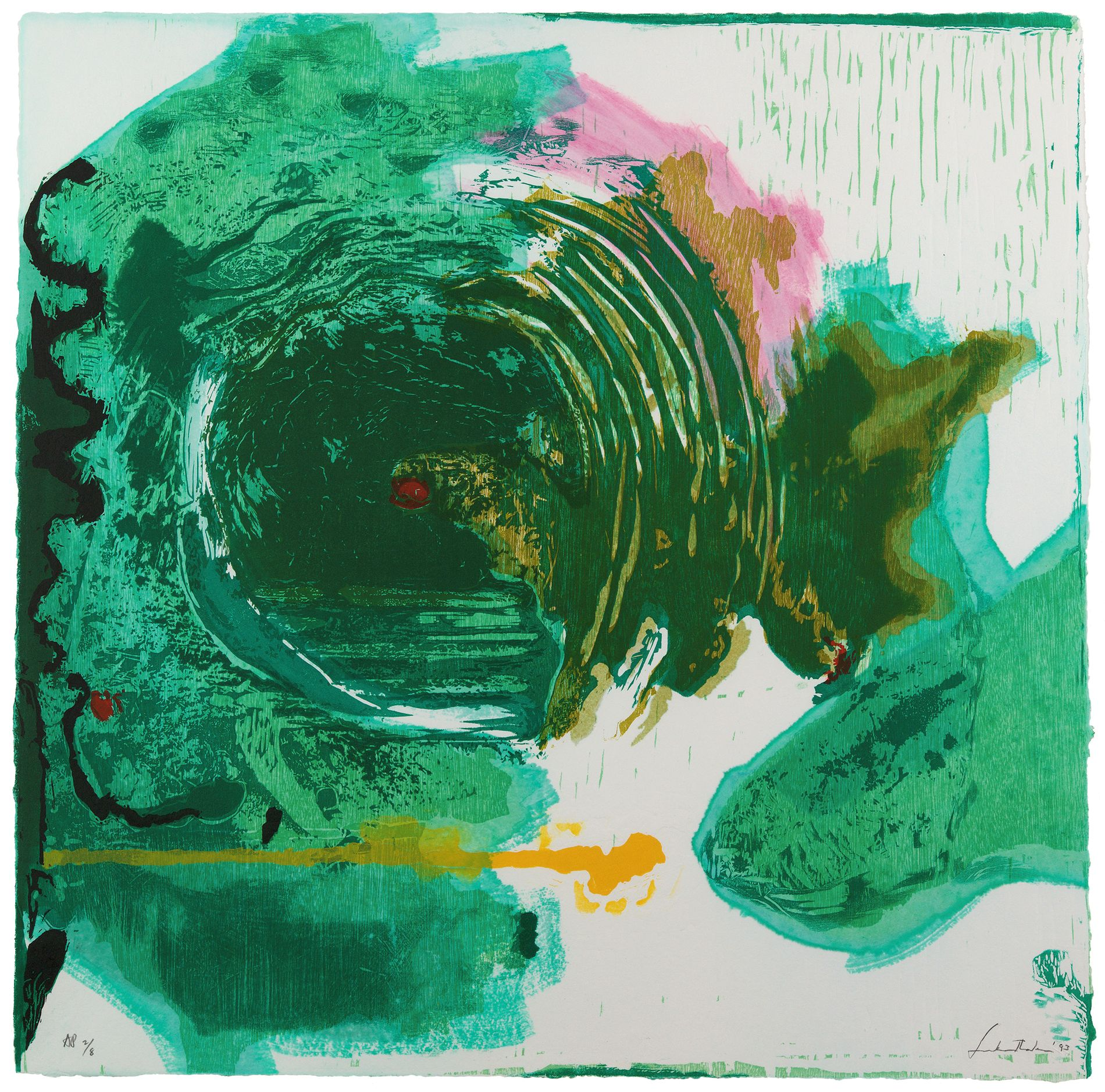 TRESNITT: Kodes utstilling av Helen Frankenthalers verk er hennar første store utstilling i Norden.