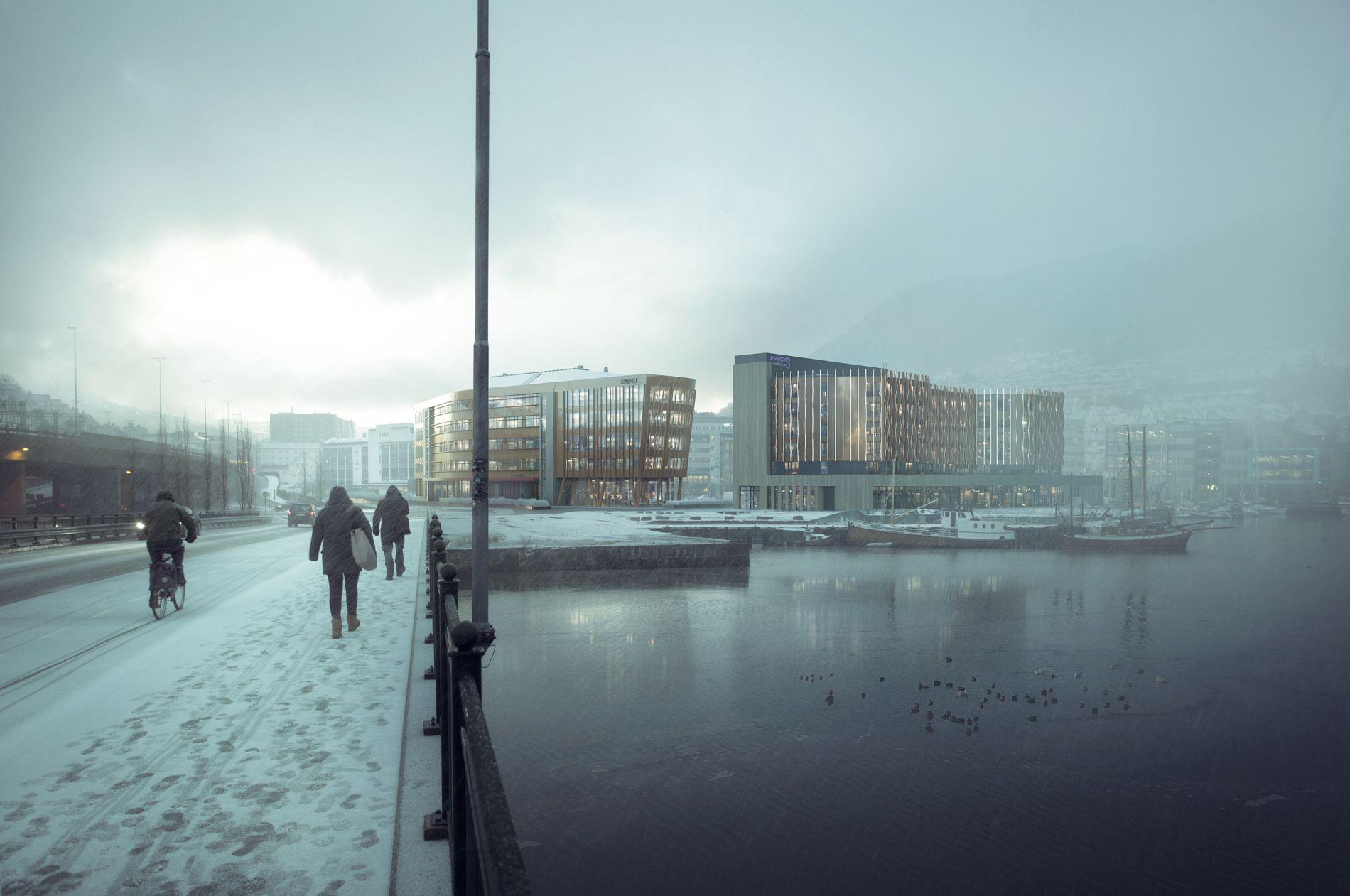 SLIK SKAL DET BLI: Sett fra Nygårdsbroen; Massivtrebygget «Skipet» til venstre, og Moxy-hotellet til høyre. «Prosjektet er blitt betydelig mer menneske- og miljøvennlig siden de første planene ble behandlet for over ti år siden», skriver Frode Bjerkestrand.  ILLUSTRASJON:  Arkitekt Paal J. Kahrs, OG arkitekter AS og MIR AS