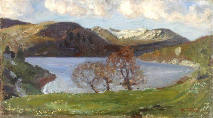 TIDLIG ASTRUP: Nikolai Astrup malte «Vårkveld ved Jølstervannet» da han var i tjueårsalderen. Nå er det på juleauksjon, sammen med et håndskrevet brev fra maleren.