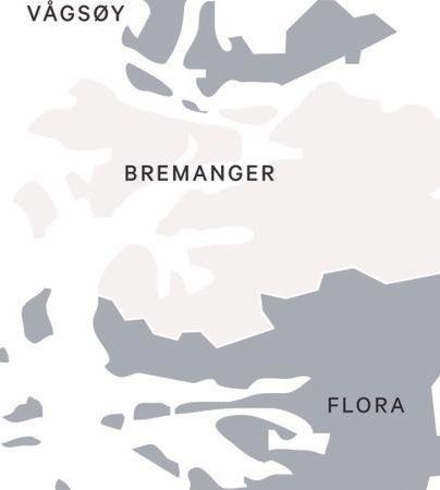 NOREGS RARASTE? Kinn kommune skal etter planen bli ein kommune i to delar, utan felles grense. Bremanger blir liggjande mellom dei to delane. Det tek over to timar å køyre mellom Florø og Måløy, som skal fungere som delte kommunesenter.