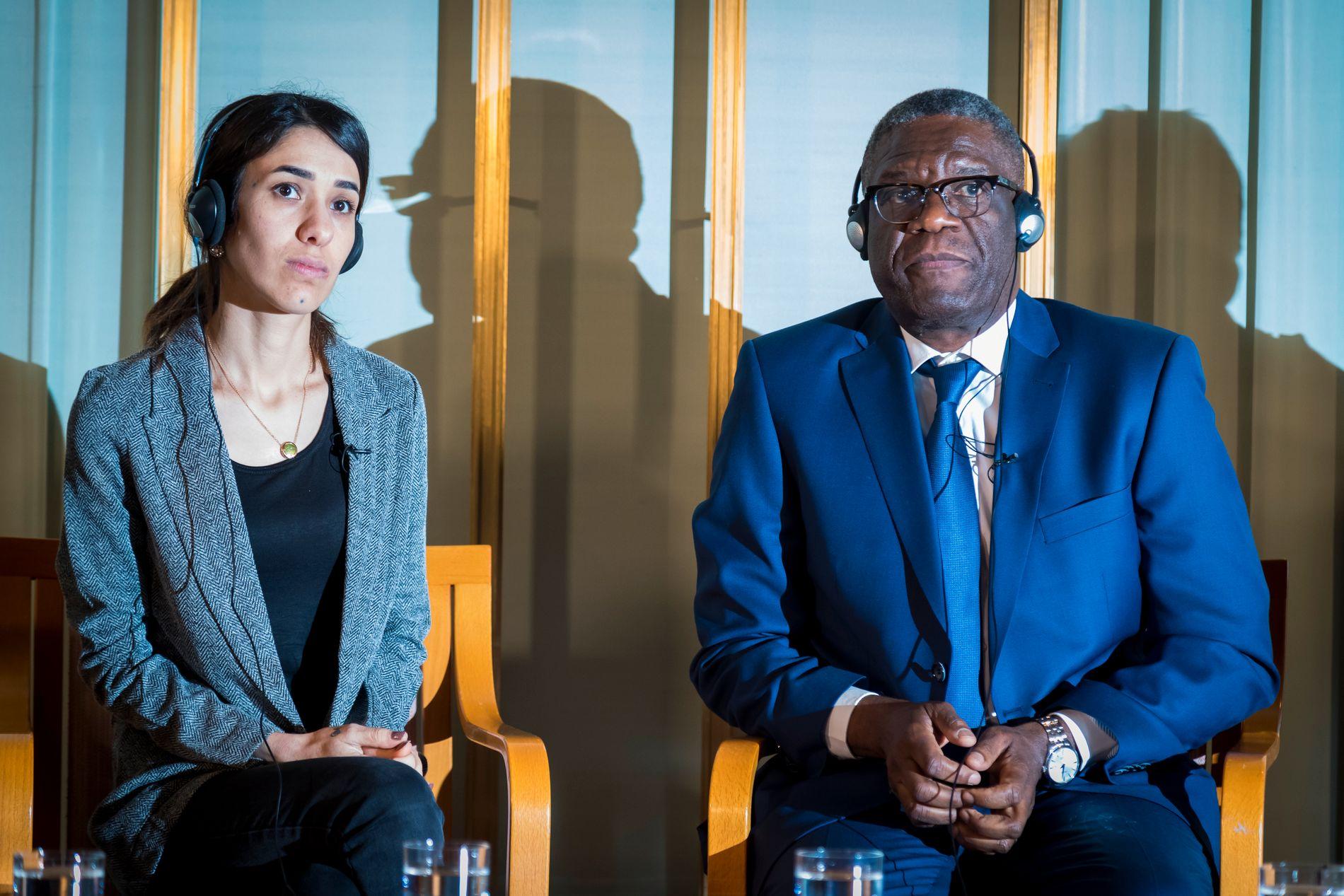 PRISVINNERNE: Nadia Murad fra Irak og Denis Mukwege fra Kongo tildeles Nobels fredspris for sin kamp mot seksualisert vold brukt som våpen i krig og væpnede konflikter.