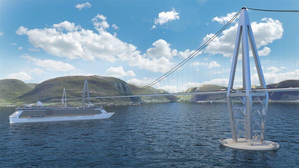 Det ser idyllisk ut når cruiseskipet krysser under flytebroen slik den kan bli over Bjørnafjorden. Men været på strekningen mellom Stavanger og Bergen kan by på ekstreme utfordringer.