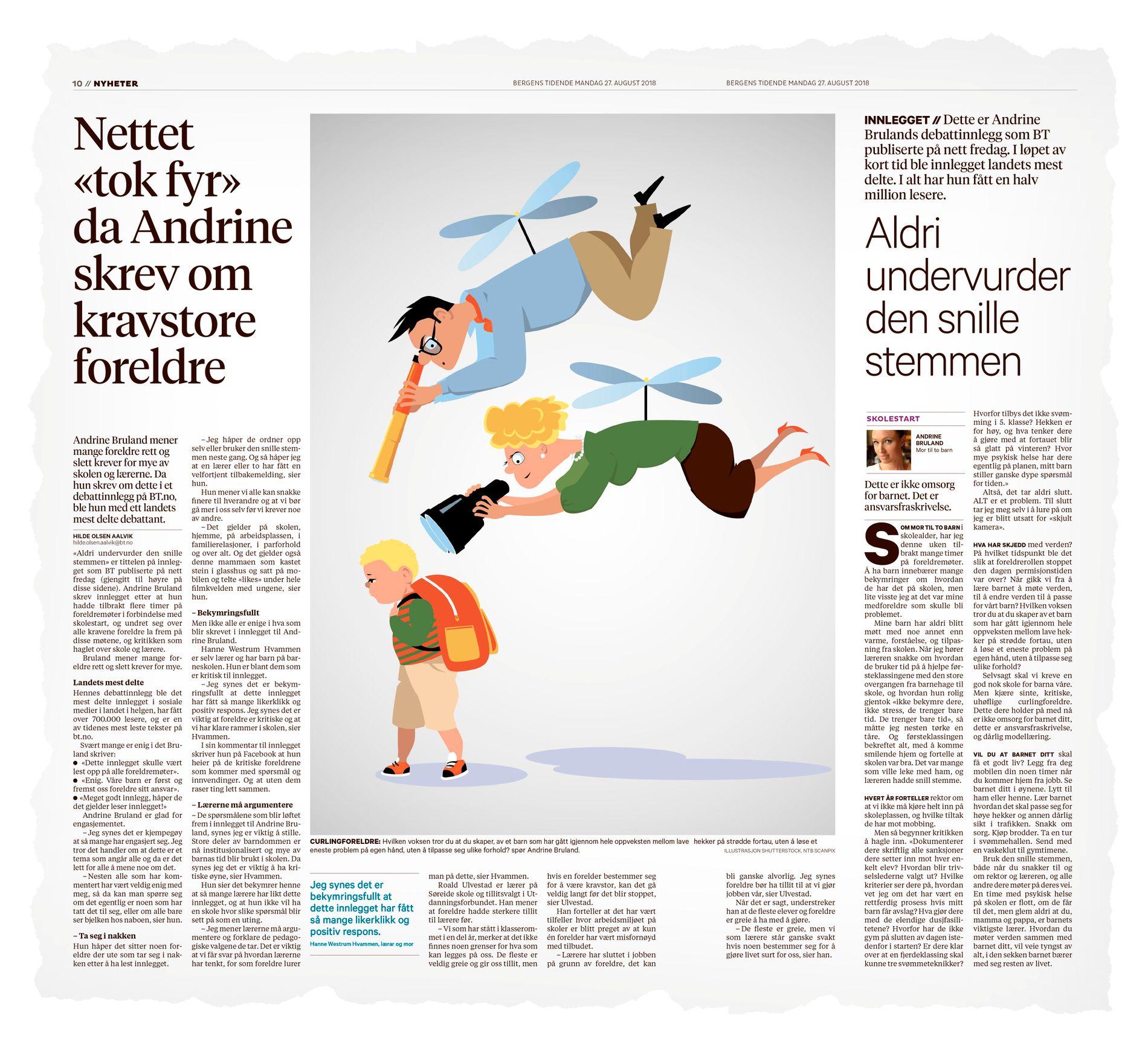 SPRES RASKT: Andrine Brulands innlegg, «Aldri undervurder den snille stemmen», handlet om at mange foreldre rett og slett krever for mye. Innlegget er årets mest delte tekst i Norge, og over 800.000 har lest den. Faksimilen viser BTs omtale i mandagsavisen.