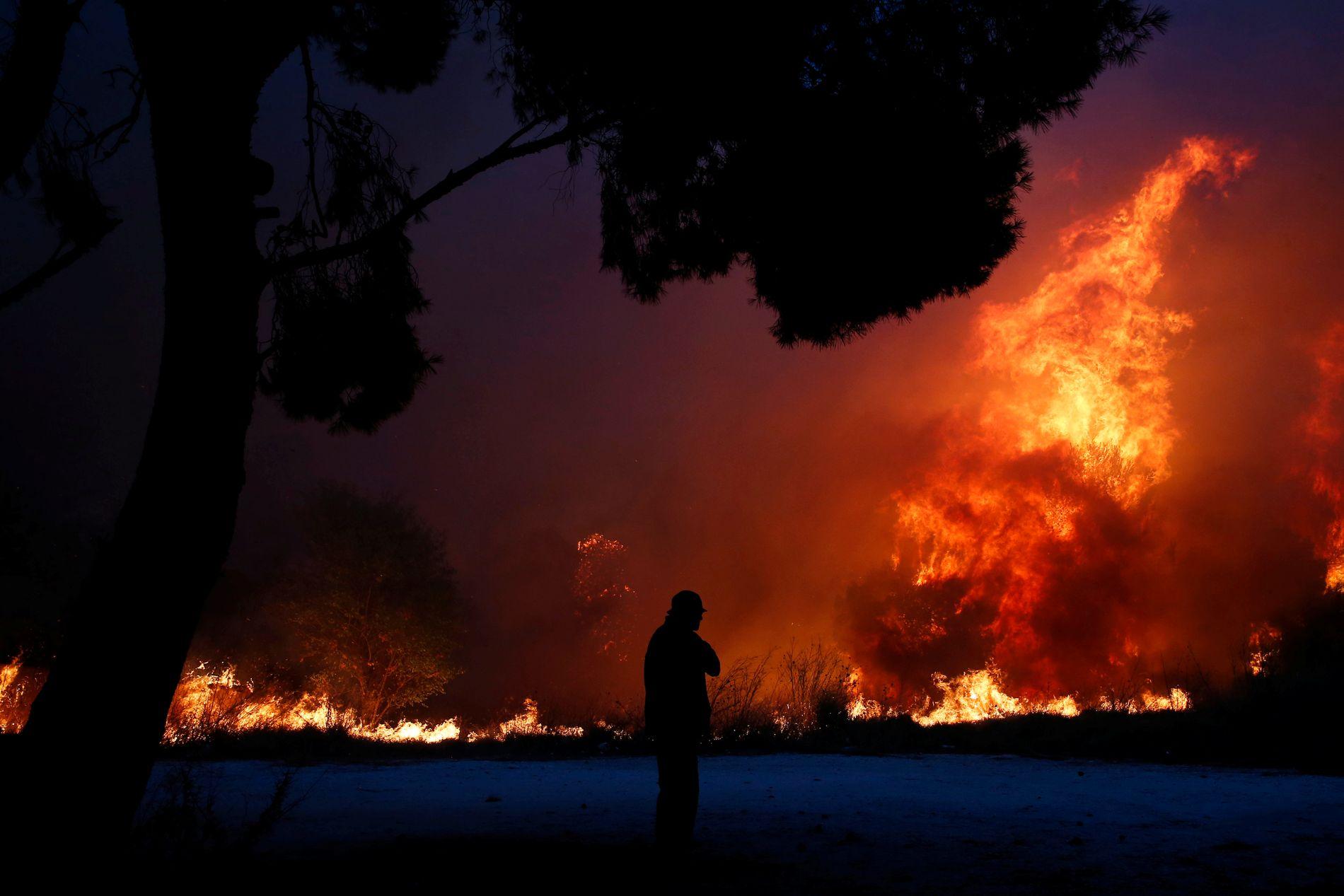 INFERNO: På kort tid tok flammane livet av 26 menneske på ei strand i den greske småbyen Mati. Minst 79 menneske er drepne i Hellas.